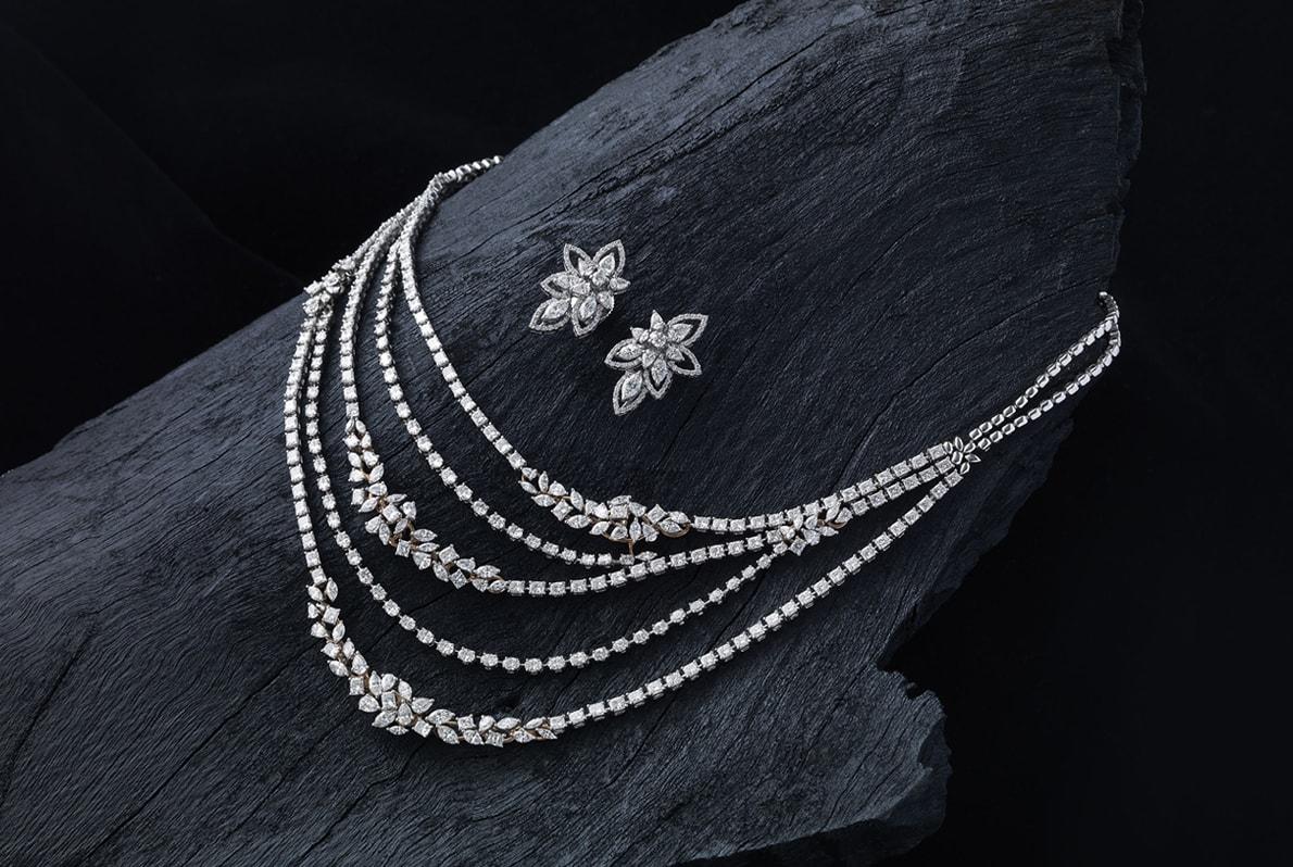 Five-strand_Diamond_Necklace_Earrings